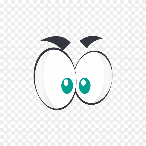 Hand drawn cartoon eyes illustration on transparent background PNG
