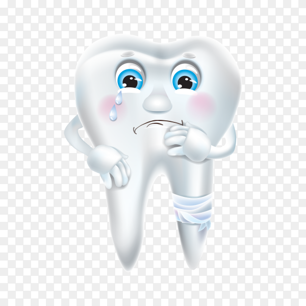Hand drawn cartoon sad tooth on transparent background PNG.png