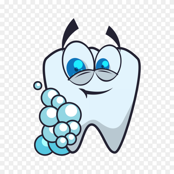 Hand drawn cartoon teeth icon on transparent background PNG