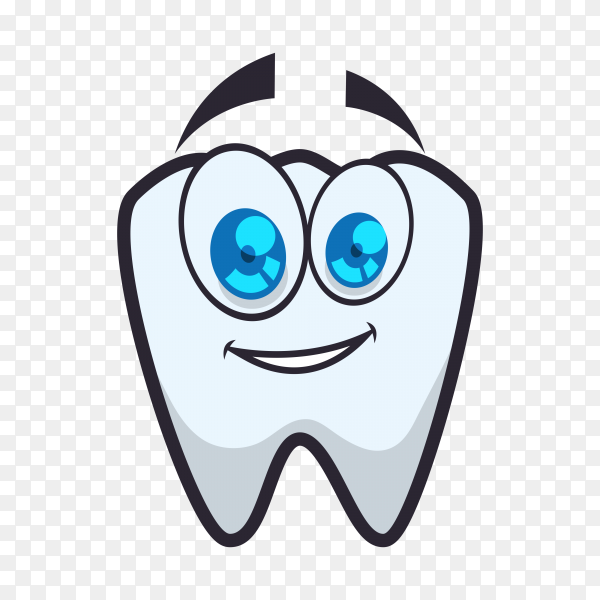 Hand drawn cartoon tooth icon on transparent background PNG.png