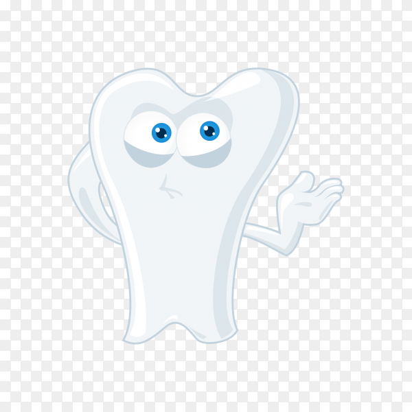 Hand drawn cartoon tooth isolated on transparent background PNG.png
