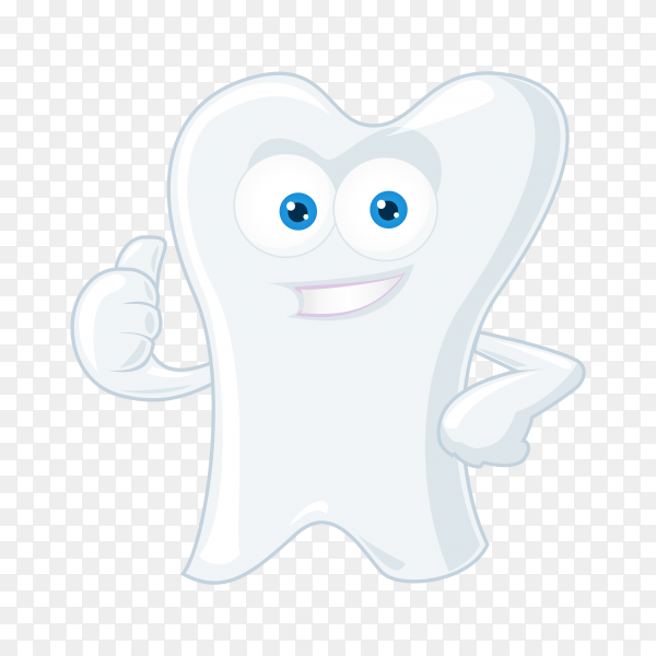 Hand drawn cartoon tooth on transparent background PNG.png