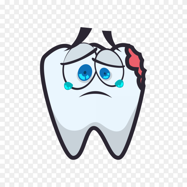 Hand drawn cartoon tooth template on transparent background PNG.png