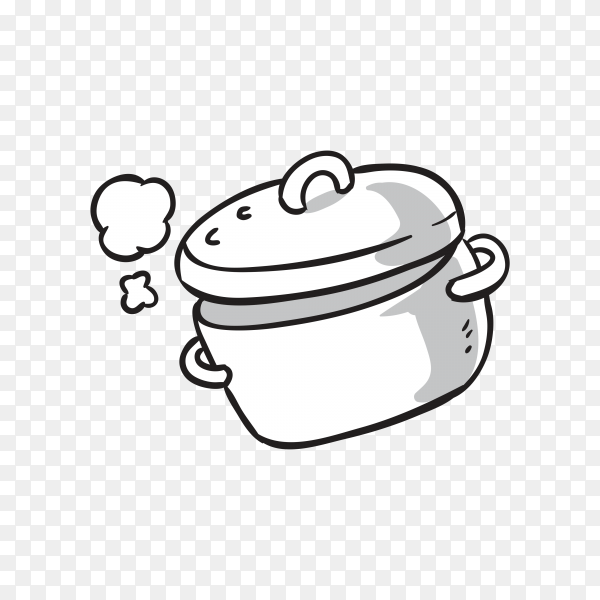 Hand drawn cooking pot on transparent background PNG