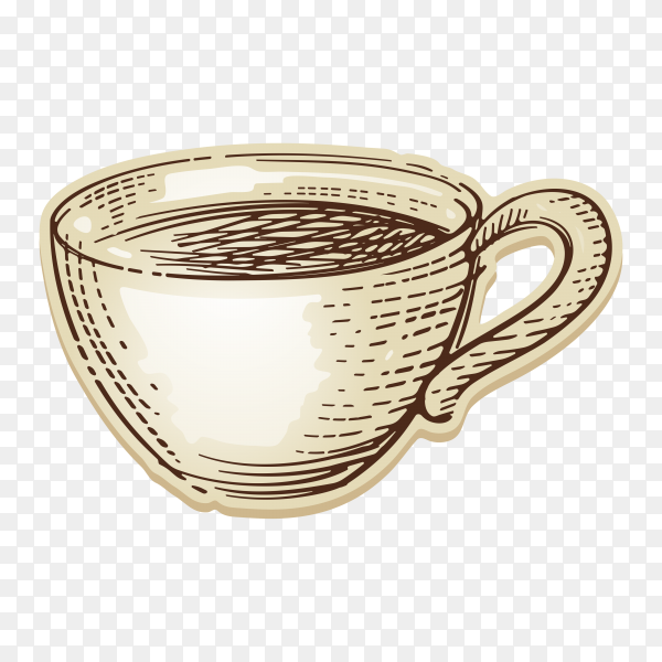 Hand drawn cup of coffee on transparent background PNG