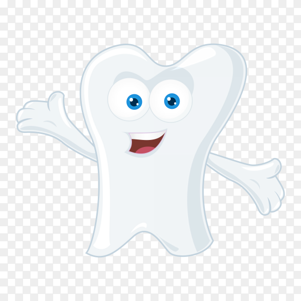 Hand drawn cute cartoon tooth on transparent background PNG.png