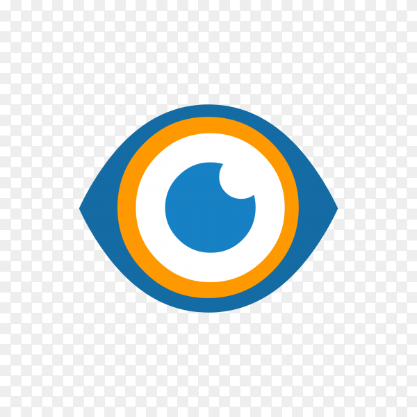 Hand drawn eye icon logo on transparent background PNG