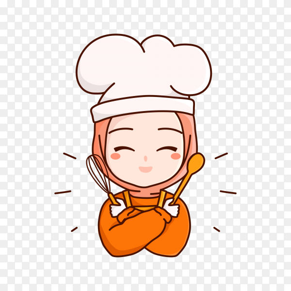 Hand drawn female chef on transparent background PNG