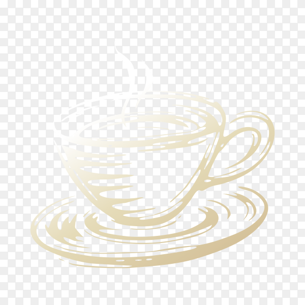 Hand drawn hot cup of coffee on transparent background PNG