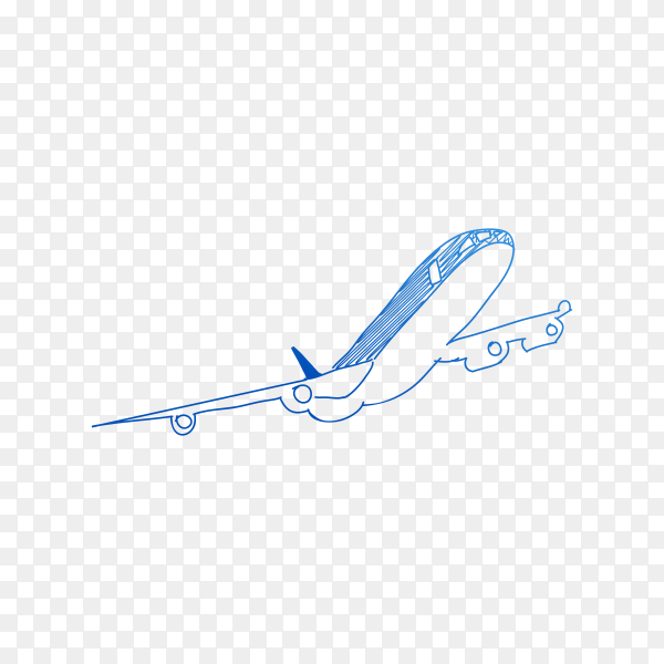 Hand drawn plane in blue color on transparent background PNG