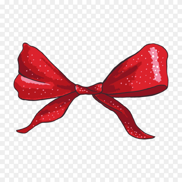 Hand drawn red gift bow on transparent background PNG.png