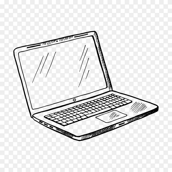 Hand-drawn sketch of laptop computer on transparent background PNG