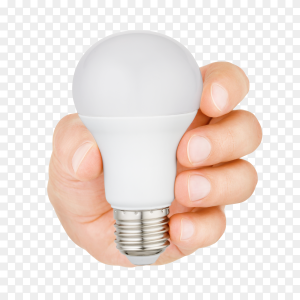 Hand holding plastic led light bulb isolated on transparent background PNG