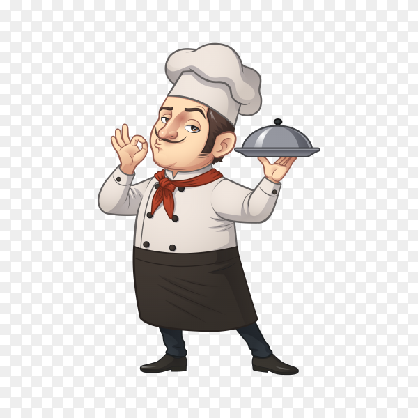 Happy chef character with tray on transparent background PNG
