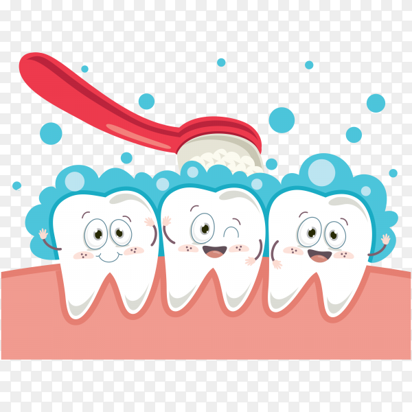 Happy cute cartoon tooth with toothbrush on transparent background PNG