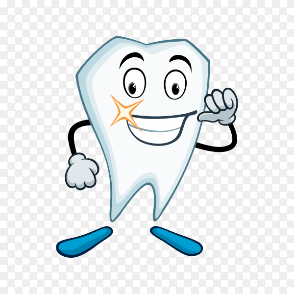 Healthy cute cartoon tooth character on transparent background PNG.png