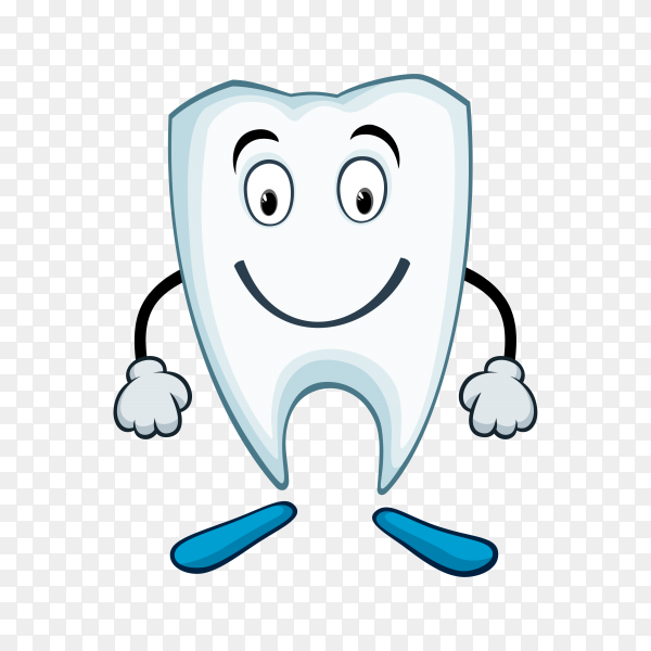 Healthy cute cartoon tooth character premium vector PNG.png