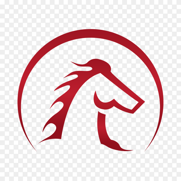 Horse logo template on transparent background PNG