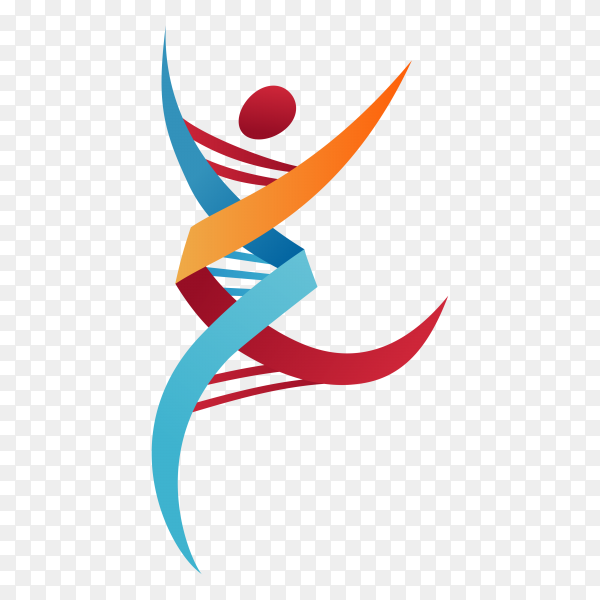 Human DNA logo icon design on transparent background PNG