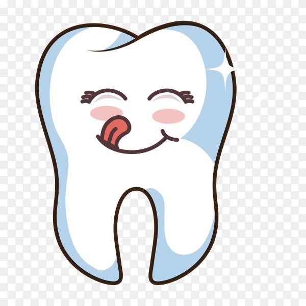 Human tooth character cartoon on transparent background PNG