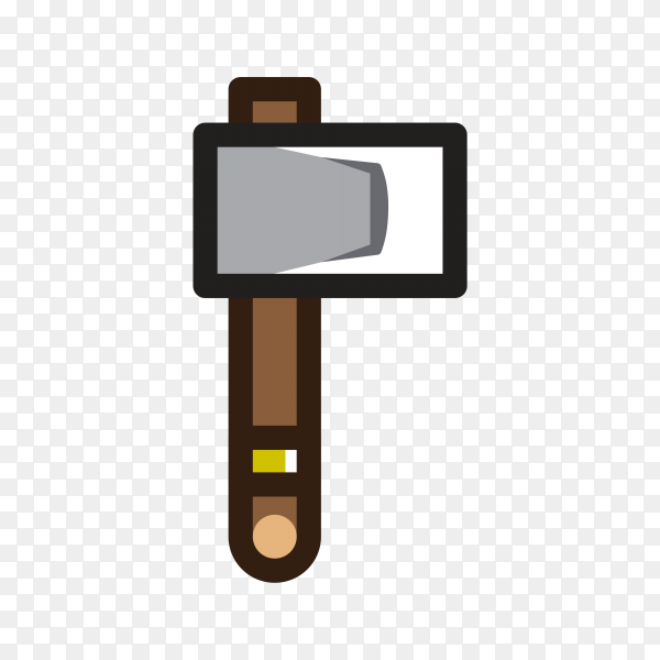 Illustration of Axe for creating video game on transparent PNG