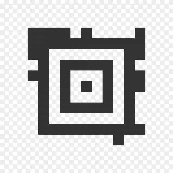 Illustration of QR code sample for smartphone scanning isolated on transparent background PNG