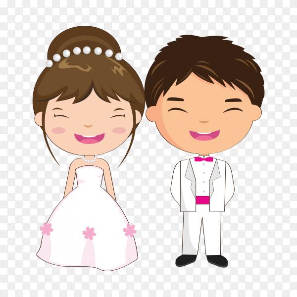 Illustration of beautiful wedding couple on transparent background PNG