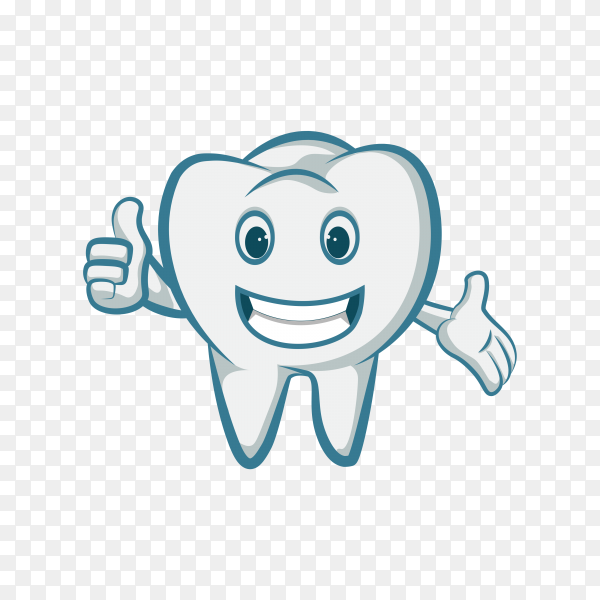 Illustration of cartoon smiling tooth on transparent background PNG