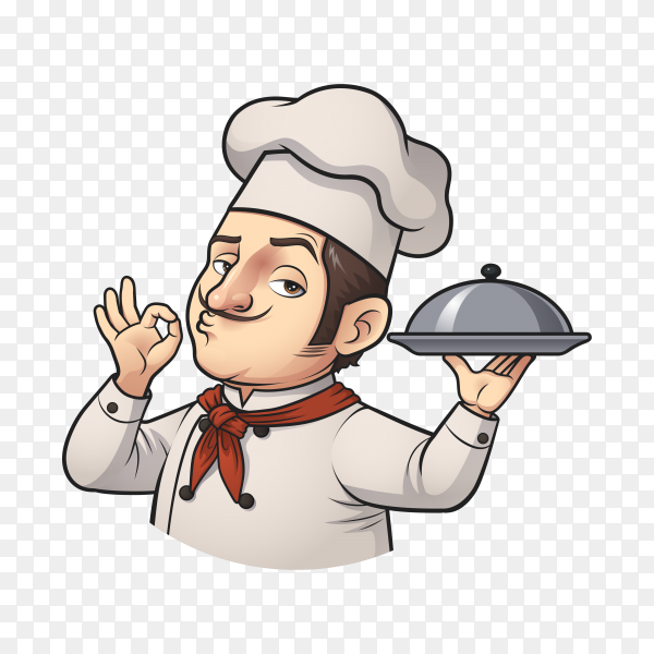 Illustration of chef man character on transparent background PNG
