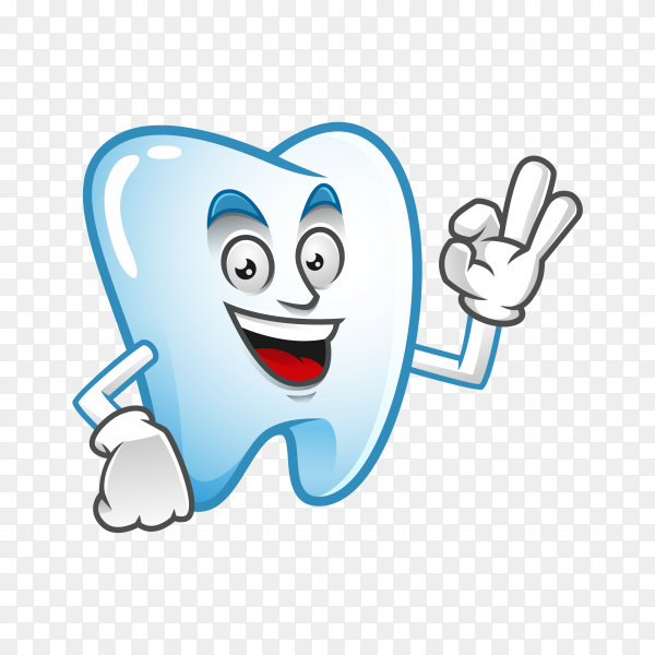 Illustration of cute Tooth mascot or character on transparent PNG.png