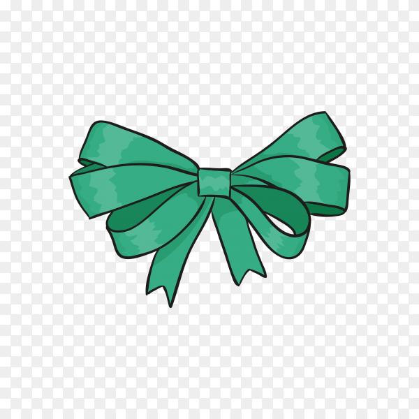 Illustration of green gift bow on transparent background PNG.png