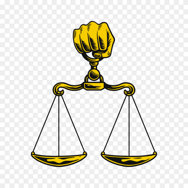 Illustration of justice scale logo and symbol on transparent background PNG