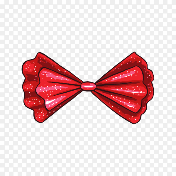 Illustration of red gift bow on transparent background PNG.png