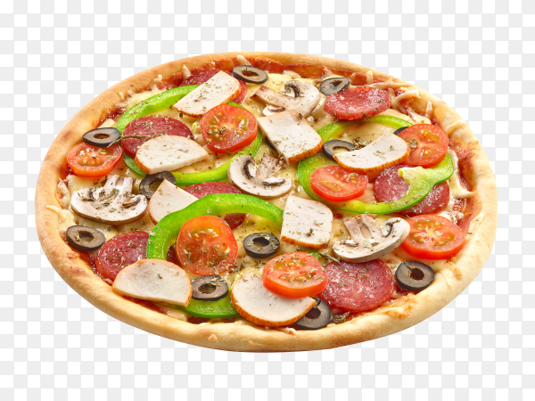 Italian Pizza with mozzarella and salami on transparent background PNG