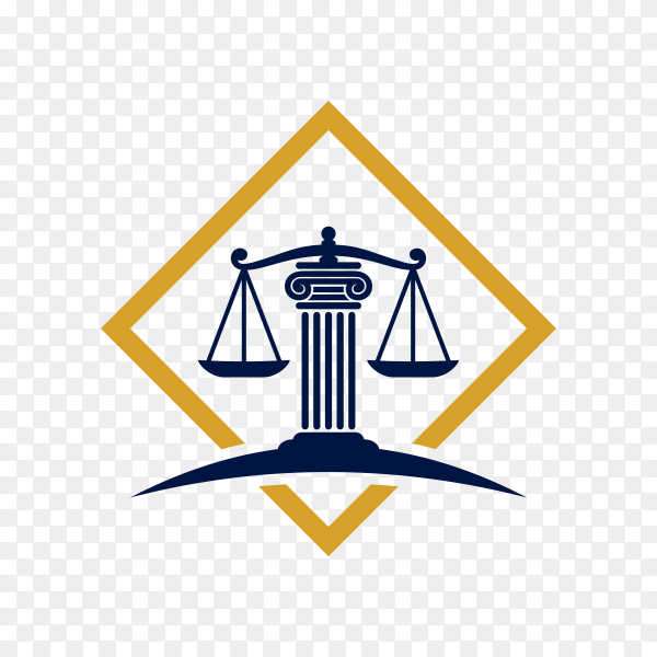 Justice law badge logo design template. emblem of attorney logo design. scales and pillar illustration on transparent PNG