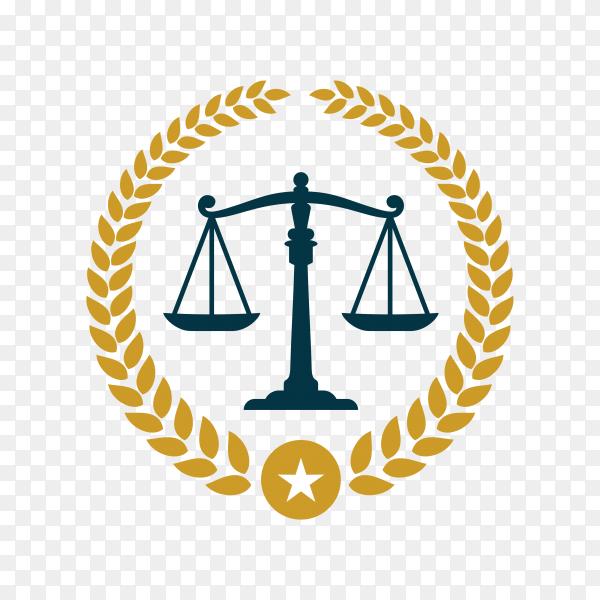 Justice law badge logo design template. emblem of attorney logo design. scales and pillar illustration premium vector PNG