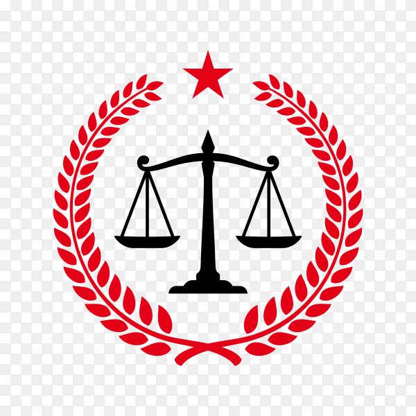 Justice law badge logo design template. emblem of attorney logo design. scales and pillar illustration on transparent background PNG