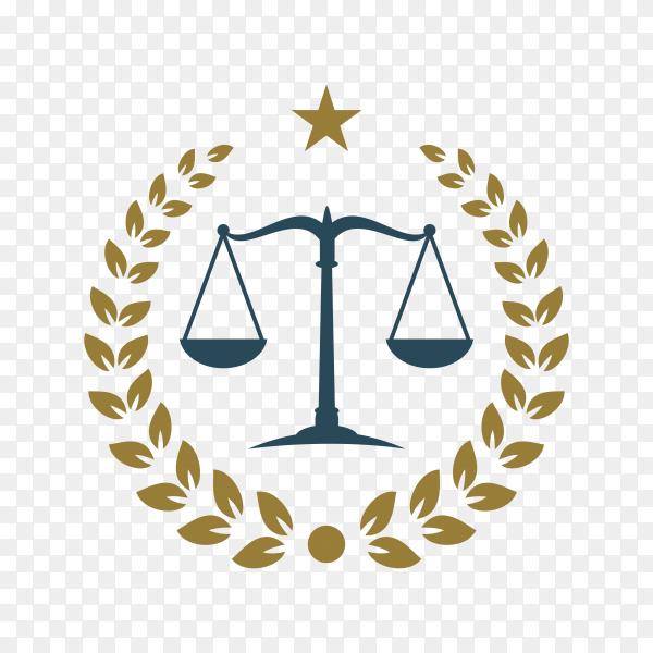 Justice law badge logo design template. emblem of attorney logo design on transparent background PNG