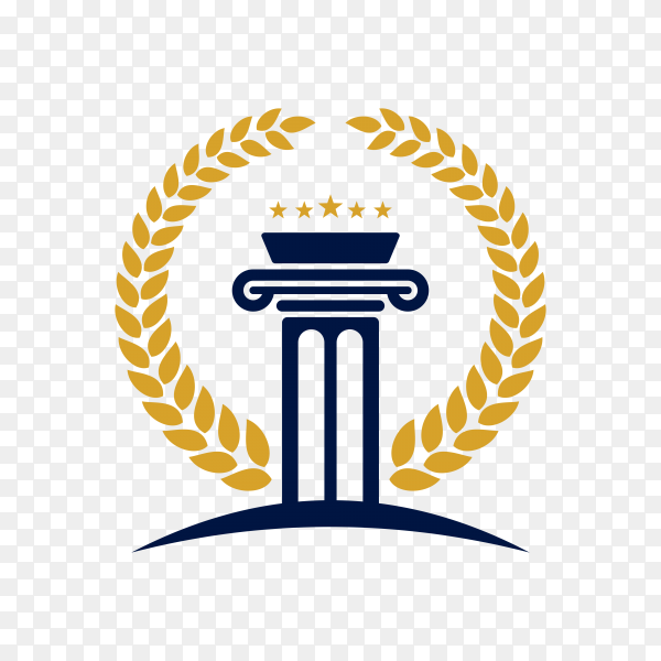Justice law logo design template. attorney logo with pillar and star shape illustration on transparent background PNG