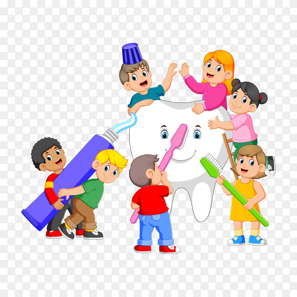 Kids Holding Toothpaste and Toothbrush Standing with a Big White Tooth on transparent background PNG