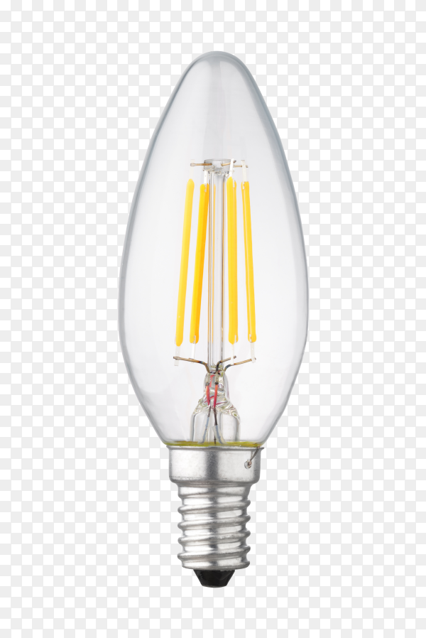 LED filament light bulb candle on transparent background PNG