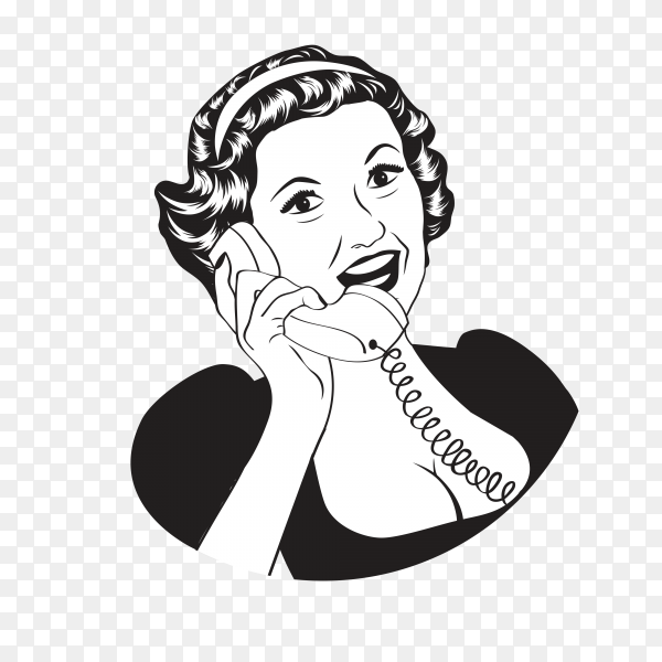 Lady talking in phone on transparent background PNG