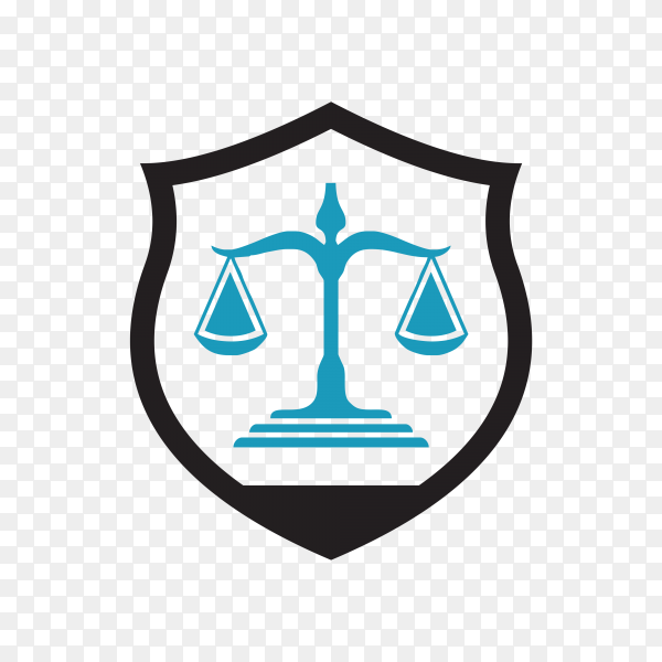 Law Firm logo and icon design template in blue color on transparent background PNG