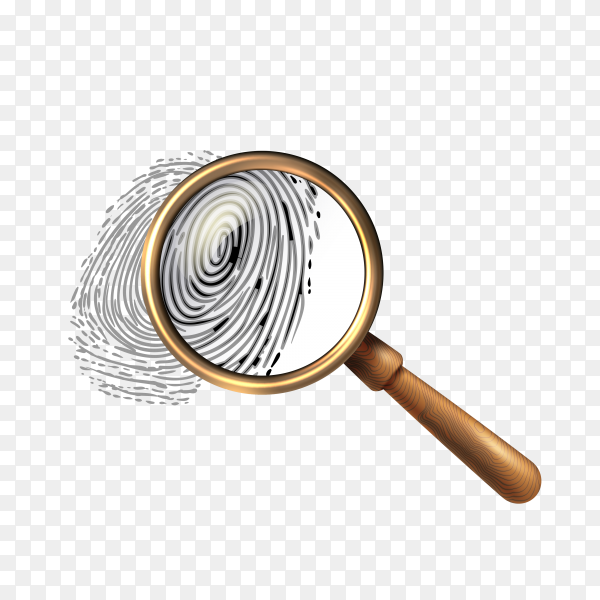 Law fingerprint icon under magnifying glass isolated on transparent background PNG