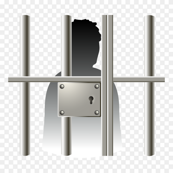 Law prisoner icon silhouette in jail isolated on transparent background PNG