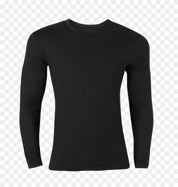 Long sleeve black t-shirt on transparent background PNG