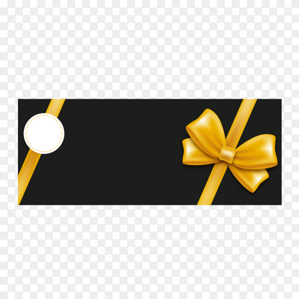 Luxury greeting card with golden gift bow, ribbon and line on transparent background PNG