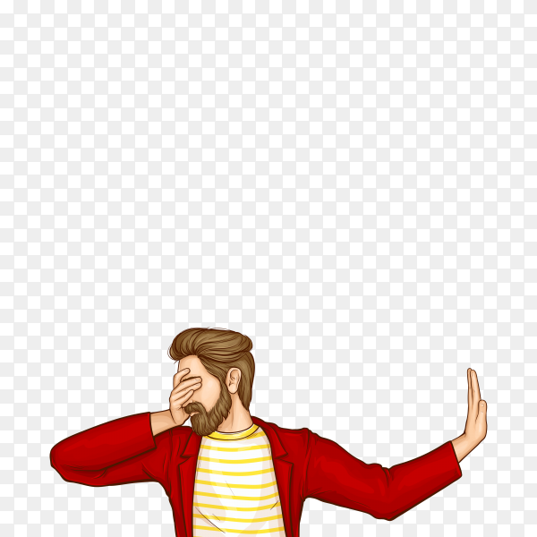 Man covering eyes with hand and doing stop gesture  on transparent background PNG