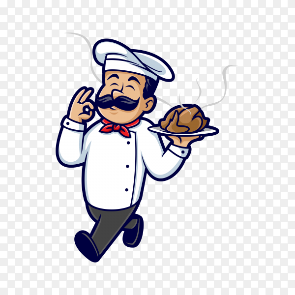 Master chef holding chicken on transparent background PNG