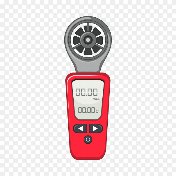 Measuring device in red color on transparent background PNG